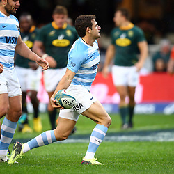 DURBAN, SOUTH AFRICA - AUGUST 18:Try Nicolas Sanchez of Argentina during the Rugby Championship match between South Africa and Argentina at Jonsson Kings Park on August 18, 2018 in Durban, South Africa. (Photo by Steve Haag/Gallo Images)