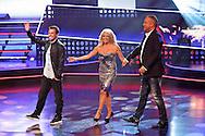 HILVERSUM - In Studio 24 is de vierde halve finale van Hollands Got Talent geweest.  Met op de foto de jury van Hollands Got Tallent bestaande uit Dan Karaty, Patricia Paay en Gordon. FOTO LEVIN DEN BOER - PERSFOTO.NU