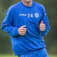 St Johnstone Training...29.08.14<br /> New signing Brian Graham training with his new team mates at a wet McDiarmid Park this morning..<br /> Picture by Graeme Hart.<br /> Copyright Perthshire Picture Agency<br /> Tel: 01738 623350  Mobile: 07990 594431