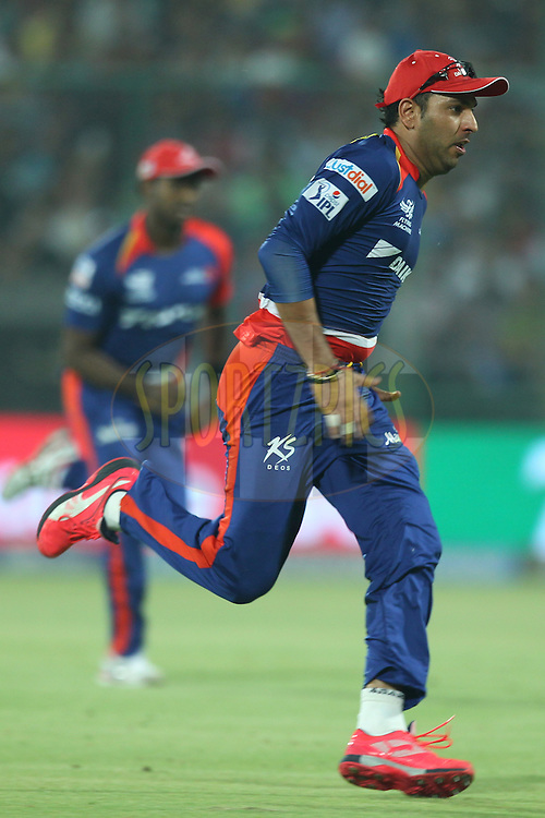 Yuvraj Singh of the Delhi Daredevils in action during match 21 of the Pepsi IPL 2015 (Indian Premier League) between The Delhi Daredevils and The Mumbai Indians held at the Ferozeshah Kotla stadium in Delhi, India on the 23rd April 2015.<br /> <br /> Photo by:  Deepak Malik / SPORTZPICS / IPL