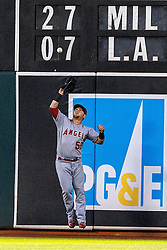 OAKLAND, CA - JUNE 17:  Kole Calhoun #56 of the Los Angeles Angels of Anaheim catches a fly ball hit off the bat of Jake Smolinski (not pictured) of the Oakland Athletics during the seventh inning at the Oakland Coliseum on June 17, 2016 in Oakland, California. (Photo by Jason O. Watson/Getty Images) *** Local Caption *** Kole Calhoun