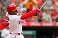 May 20, 2018 - Anaheim, CA, U.S. - ANAHEIM, CA - MAY 20: Justin Upton (8) of the Angels at bat during the major league baseball game between the Tampa Bay Rays and the Los Angeles Angels on May 20, 2018 at Angel Stadium of Anaheim in Anaheim, California. (Photo by Cliff Welch/Icon Sportswire) (Credit Image: © Cliff Welch/Icon SMI via ZUMA Press)
