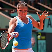 31 May 2009:  Dinara Safina of Russia eyes the ball as she hits a forehand during the Women's Singles fourth round match on day eight of the French Open at Roland Garros in Paris, France.