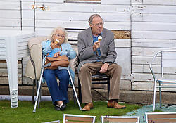 LIVERPOOL, ENGLAND - Thursday, June 15, 2017: Spectators eat ice cream during Day One of the Liverpool Hope University International Tennis Tournament 2017 at the Liverpool Cricket Club. (Pic by David Rawcliffe/Propaganda)