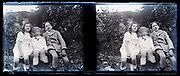 children posing in garden stereo image 1920s France