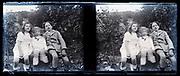 children posing in garden stereo image 1920s France