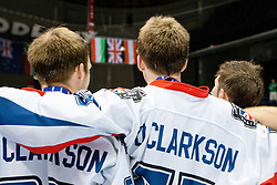 Clarksons of Great Britain watching national flag during national anthem after winning Division 1at IIHF In-Line Hockey World Championships 2011 Division 1 Gold medal game between National teams of Great Britain and Hungary on June 25, 2011, in Pardubice, Czech Republic. Great Britain won Hungary 3:2 (Photo by Matic Klansek Velej / Sportida)