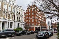 "The Phillimore Gardens building housing the AirBNB £2.5m five-bedroom flat, home of American divorcee Elizabeth Sterling where an AirBnB booking for a ""hen party for eight"" turned into a wild party with dozens of revellers. Kensington, London, January 27 2019."