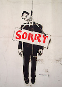 """Sorry"" Series but Street Artist Peeblitz. Prime Minister of Britain Tony Blair hanging as if by suicide.<br /> PIC JAYNE RUSSELL. 19/4/08"