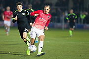 Salford City defender Oscar Threlkeld in action during the EFL Sky Bet League 2 match between Salford City and Macclesfield Town at the Peninsula Stadium, Salford, United Kingdom on 23 November 2019.