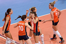 09-01-2016 TUR: European Olympic Qualification Tournament Rusland - Nederland, Ankara<br /> De strijd om Rio of Japan / Vreugde bij Nederland Robin de Kruijf #5, Lonneke Sloetjes #10, Anne Buijs #11, Debby Stam-Pilon #16, Maret Balkestein-Grothues #6