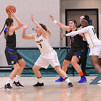 4th year  guard Sara Hubenig (7) and 1st year post Angela Bongomin (14) of the Regina Cougars  of the Regina Cougars during the Women's Basketball Preseason game on October 6 at Centre for Kinesiology, Health and Sport. Credit: Arthur Ward/Arthur Images