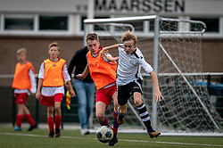 Brent #8 of VV Maarssen  in action. VV Maarssen O14-1 played a friendly game against CDW O15-2. Maarssen won 9-2 on July 11, 2020 at Daalseweide sports park Maarssen.