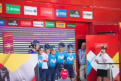 Movistar Women's Team riders stand on the sign-on podium before Stage 2 of the Madrid Challenge - a 100.3 km road race, starting and finishing in Madrid on September 16, 2018, in Spain. (Photo by Balint Hamvas/Velofocus.com)