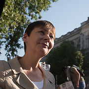Caroline Lucas of Green Party addresses  protests of the massacre of Palestinian protestor in Gaza by the Israelis army on the day US moving its embassy to Jerusalem outside Downing Street on 15 May 2018, London, UK.