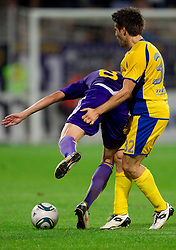 Dejan Mezga of Maribor and Luka Elsner of Domzale during football match between NK Maribor and NK Domzale of Slovenian SuperCup 2011, on July 8, 2011, in  Stadium Ljudski vrt, Maribor, Slovenia. Domzale defeated Maribor 2-1 and became SuperCup Champion. (Photo by Vid Ponikvar / Sportida)