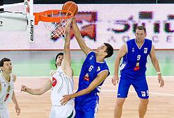 Saso Ozbolt of Olimpija vs Milan Dozet of Igokea during basketball match between KK Union Olimpija and Igokea in First round of NLB league in Arena Stozice on October 9, 2010 in SRC Stozice, Ljubljana, Slovenia. Union Olimpija defeated Igokea 61-54. (Photo by Vid Ponikvar / Sportida)