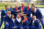 The European team celebrate winning<br /> <br /> Sunday singles The victorious European Team after beating USA with the trophy after the winning presentation<br /> <br /> Captain Thomas Bjorn<br /> Francesco Molinari&nbsp;<br /> Tommy Fleetwood&nbsp;<br /> Tyrrell Hatton&nbsp;&nbsp;&nbsp;&nbsp;&nbsp;&nbsp;&nbsp;&nbsp;&nbsp;&nbsp;&nbsp;&nbsp;&nbsp;&nbsp;&nbsp;&nbsp;&nbsp; <br /> Paul Casey&nbsp;&nbsp;&nbsp;&nbsp;&nbsp;&nbsp;&nbsp;&nbsp;&nbsp;&nbsp;&nbsp;&nbsp;&nbsp;&nbsp;&nbsp;&nbsp;&nbsp;&nbsp;&nbsp; <br /> Thorbjorn Olesen&nbsp;&nbsp;&nbsp;&nbsp;&nbsp;&nbsp;&nbsp;&nbsp;&nbsp;&nbsp;&nbsp;<br /> Rory McIlroy&nbsp;&nbsp;&nbsp;&nbsp;&nbsp;<br /> Jon Rahm&nbsp;&nbsp;&nbsp;&nbsp;&nbsp;&nbsp;&nbsp;&nbsp;&nbsp;&nbsp;&nbsp;&nbsp;&nbsp;&nbsp;&nbsp;&nbsp;&nbsp;&nbsp;&nbsp;&nbsp;&nbsp;&nbsp;&nbsp;&nbsp; <br /> Justin Rose&nbsp;&nbsp;&nbsp;<br /> Alex Noren<br /> Henrik Stenson<br /> Sergio Garc&iacute;a<br /> Ian Poulter