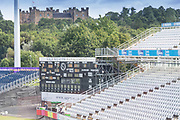 View of the scoreboard & Lumley castle in the background before the Specsavers County Champ Div 2 match between Durham County Cricket Club and Leicestershire County Cricket Club at the Emirates Durham ICG Ground, Chester-le-Street, United Kingdom on 19 August 2019.
