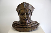 Silicon bronze bust by sculptor David Annand of Cardinal Thomas Wolsey, at Univeristy Campus Suffolk, Ipswich, England - no property release.