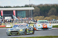 Nicki Thiim (DNK) / Marco Sorensen (DNK) / Darren Turner (GBR) #95 Aston Martin Racing Aston Martin Vantage, during during the first hour or the race  as part of the WEC 6 Hours of Silverstone 2016 at Silverstone, Towcester, Northamptonshire, United Kingdom. April 17 2016. World Copyright Peter Taylor.