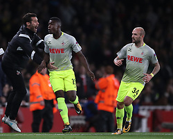 FC Koln's Jhon Cordoba (centre) celebrates scoring his side's first goal of the game during the Europa League match at the Emirates Stadium, London.