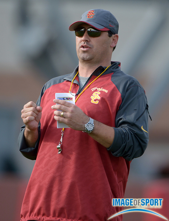 Mar 11, 2014; Los Angeles, CA, USA; Southern California Trojans coach Steve Sarkisian at spring practice at Howard Jones Field.