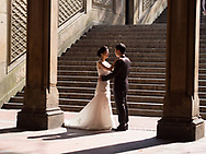 Wedding couple at Bethesda Terrace in Central Park