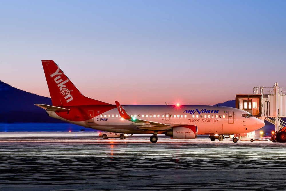 A colourful dawn sky greets C-FANF as the aircraft prepares to push back and start engines at -25C