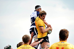 Will Carrick-Smith of Cornish Pirates wins the ball at a lineout - Photo mandatory by-line: Patrick Khachfe/JMP - Mobile: 07966 386802 21/09/2014 - SPORT - RUGBY UNION - Bristol - Ashton Gate - Bristol Rugby v Cornish Pirates - GK IPA Championship.