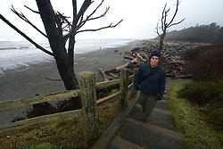 Dayhiker Approaching Kalaloch Lodge, Kalaloch, Olympic National Park, Washington, US