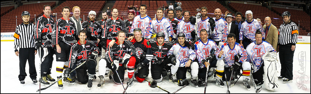 """7 April 2013: 20""""x6"""" File For Print.  PBHA Newport Beach Hockey Club skating on the ice at the Honda Center before the Ducks vs Kings freeway series got underway in Anaheim, CA.  Team USA defeated Team Canada 7-6 in regulation. Images are for player personal use."""