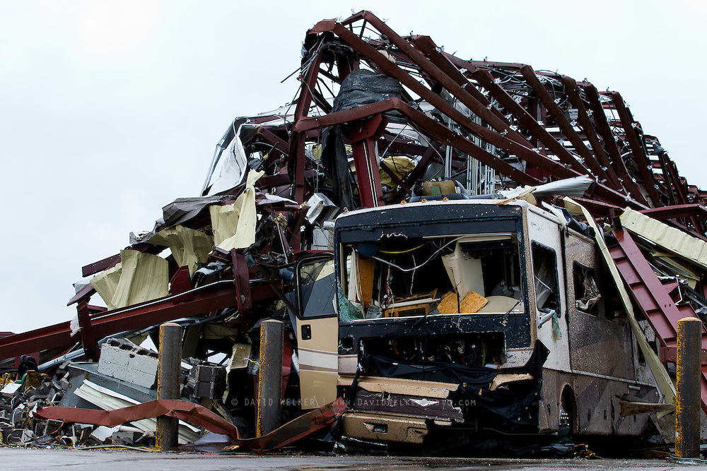 May 23, 2011- Twisted steel surrounds an RV in Joplin, Missouri after a Tornado came through the town on Sunday, May 22, 2011. Credit: David Welker / TurfImages.com