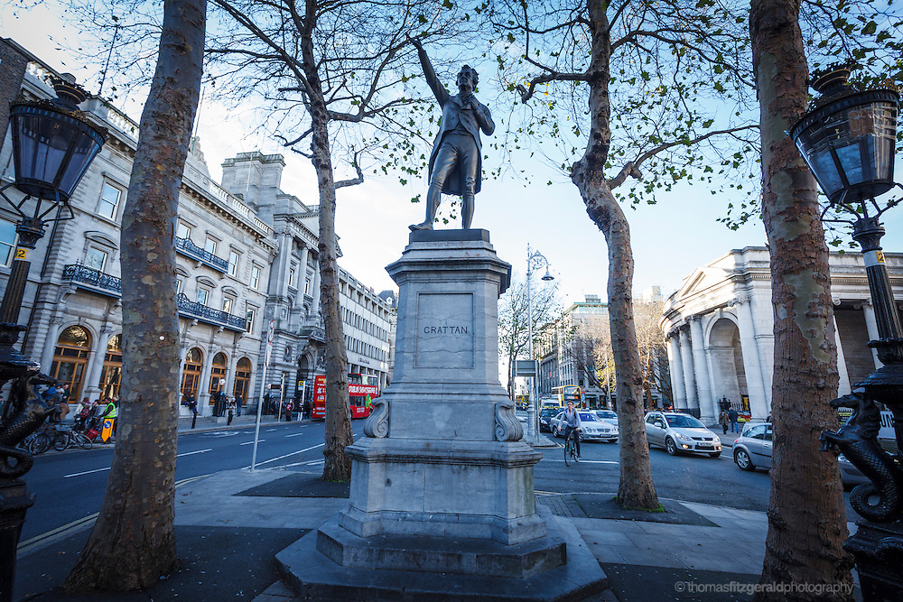 2012: Dublin, Ireland. Henry Grattan Statue on College Green in Dublin