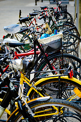Bicycles parked in the Via D&egrave; Pignattari, Bologna, Italy<br /> <br /> (c) Andrew Wilson | Edinburgh Elite media