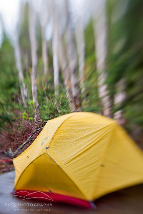 Tent at the Crocker Cirque tent site at the base of Crocker Mountain in Stratton, Maine.  Near the Appalachian Trail.