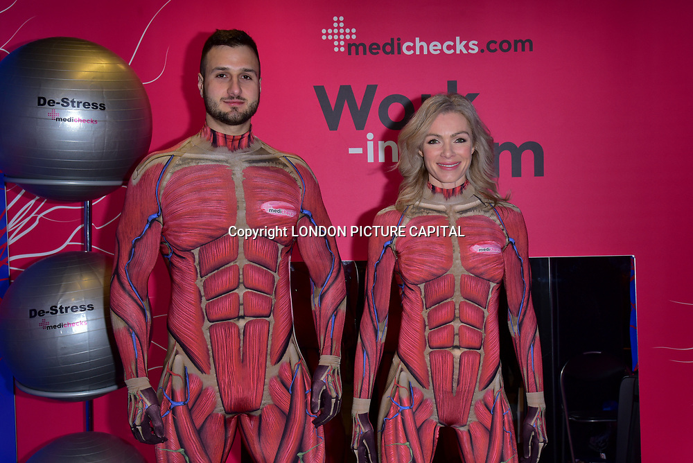 London, England, UK. 18th January 2018. Nell McAndrew and Emil Hodzovic trials the first ever pop-up 'work-in gym' at London Liverpool Street Station.