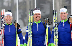 Peter Dokl, Janez Maric and Klemen Bauer of Slovenian biathlon team before new season 2009/2010,  on November 16, 2009, in Pokljuka, Slovenia.   (Photo by Vid Ponikvar / Sportida)