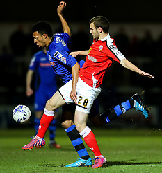 Rochdale's Rhys Bennett challenges Jamie Ness of Crewe Alexandra - Photo mandatory by-line: Matt McNulty/JMP - Mobile: 07966 386802 - 03/03/2015 - SPORT - football - Rochdale - Spotland Stadium - Rochdale v Crewe Alexandra - Sky Bet League One