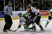 KELOWNA, CANADA - NOVEMBER 12:  Calvin Thurkauf #27 of the Kelowna Rockets at the Kelowna Rockets game on November 12, 2016 at Prospera Place in Kelowna, British Columbia, Canada.  (Photo By Cindy Rogers/Nyasa Photography,  *** Local Caption *** Sean Montgomery #25 of the Prince Albert Raiders