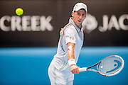 Defending Australian Open Champion Novak Djokovic (SRB) took on L. Mayer (ARG) in third day, second round play. Djokovic beat Mayer 6-0, 6-4, 6-4 at Melbourn's Rod Laver Arena.