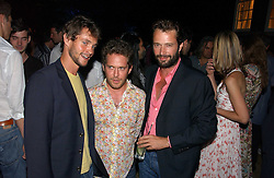 Left to right, actors HUGH DANCY, TOM HOLLANDER and JAMES PUREFOY at a party to celebrate FilmFour becoming the UK's first major free film channel held at Debenham House, Addison Road, London on 20th July 2006.<br />