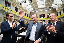 04.05.2019, Sofiensäle, Wien, AUT, ÖVP, Wahlkampfauftakt zur EU-Wahl. im Bild Bundeskanzler Sebastian Kurz (ÖVP), EVP-Spitzenkandidat Manfred Weber und EU-Spitzenkandidat Othmar Karas (ÖVP) // Austrian Federal Chancellor Sebastian Kurz, topcandidate of the EPP Manfred Weber and topcandidate Othmar Karas (OeVP) during campaign opening regarding to Eurpean Parliment Elections of the Austrian People' s Party in Vienna, Austria on 2019/05/04. EXPA Pictures © 2019, PhotoCredit: EXPA/ Michael Gruber
