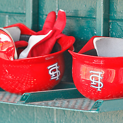 March 17, 2012; Lakeland, FL, USA; A detailed view of St. Louis Cardinals batting helmets inside the dugout before a spring training game against the Detroit Tigers at Joker Marchant Stadium. Mandatory Credit: Derick E. Hingle-US PRESSWIRE