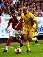 Photo: Olly Greenwood.<br />Charlton Athletic v Watford. The Barclays Premiership. 21/10/2006. Watford's Gavin Mahon and Chalton's Luke Young.