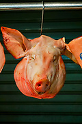 Pink Head of a pig at the Athens meat market