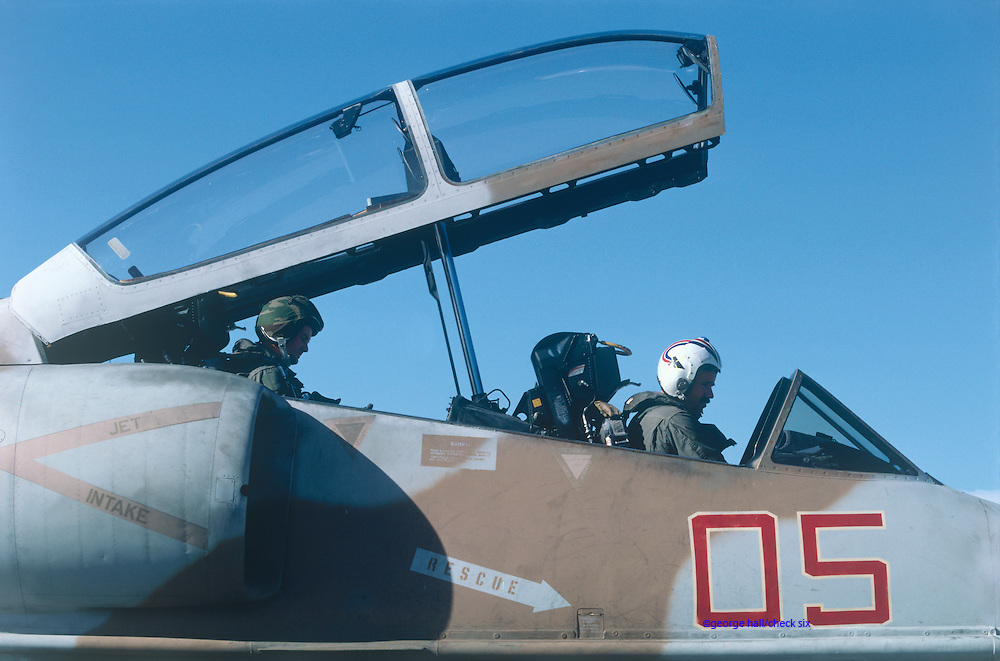 Marine Pilots prepare for take off, in A-4 Skyhawk.
