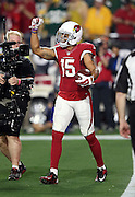 Arizona Cardinals wide receiver Michael Floyd (15) pumps his fist in celebration after catching a fourth quarter tipped pass that gives the Cardinals a 17-13 lead during the NFL NFC Divisional round playoff football game against the Green Bay Packers on Saturday, Jan. 16, 2016 in Glendale, Ariz. The Cardinals won the game in overtime 26-20. (©Paul Anthony Spinelli)