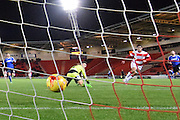 Cameron Stewart of Doncaster Rovers scores Donacsters 3rd goal to go 3-0 up during the Sky Bet League 1 match between Doncaster Rovers and Chesterfield at the Keepmoat Stadium, Doncaster, England on 24 November 2015. Photo by Ian Lyall.