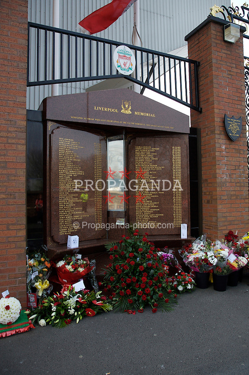 Liverpool, England - Sunday, April 15, 2007: The Hillsborough Memorial, with an eternal flame and the names of the 96 supporters who died at the Hillsborough Disaster during an FA Cup Semi-Final in 1989, outside Anfield. (Pic by Zaneta Kukucova/Propaganda)